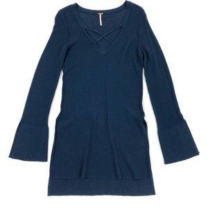 Free People | Tunic Top Sweater Blue Sz. Small